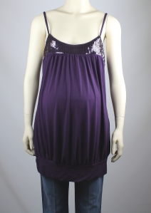 Olian Maternity Purple Sequin Trim Camisole